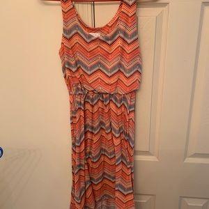 Chevron Print Hi-Low Dress